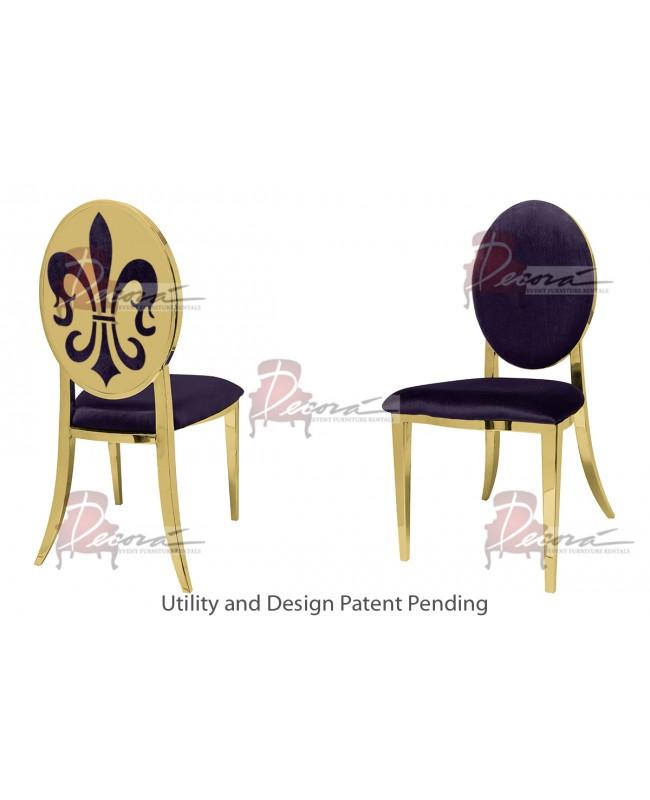 Fleur-de-lis Chair (Gold-Eggplant)