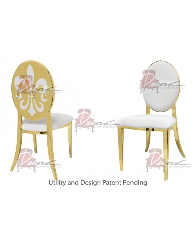 Fleur-de-lis Chair (Gold-White)