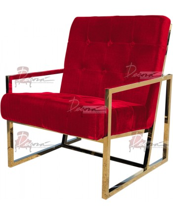 Reflection Rain Armchair (Gold - Red Tufted)