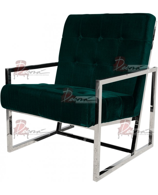 Reflection Rain Armchair (Silver - Emerald Tufted)