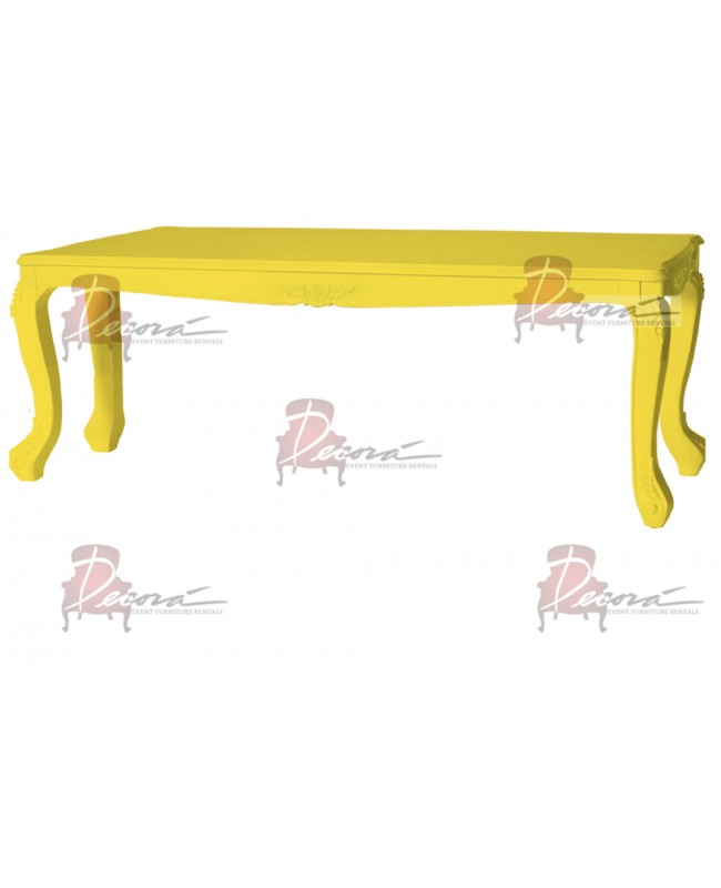 "Baroque Table 48""x96""x30""H (Queen) (Yellow)"