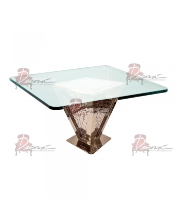 """Reflection Dining Table Pyramid 72""""x72"""" (Rose Gold)"""