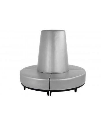 Contemporary Banquette (Round) (Silver)