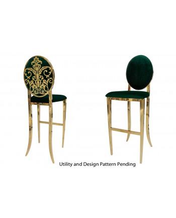 Dior Barstool (Gold-Emerald)