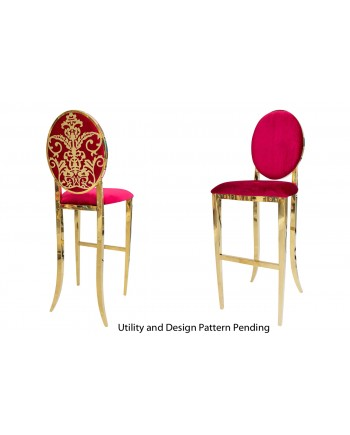 Dior Barstool (Gold-Red)