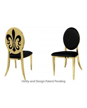 Fleur-de-lis Chair (Gold-Black)