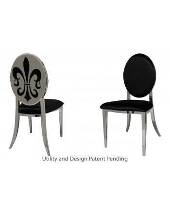 Fleur-de-lis Chair (Silver-Black)