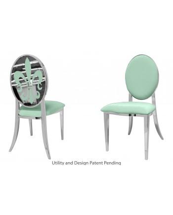 Fleur-de-lis Chair (Silver-Mint)