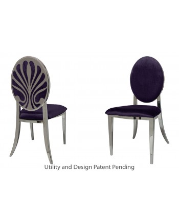 Nouveau Shell Chair (Silver-Eggplant)