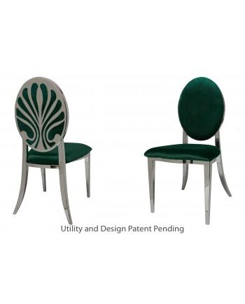 Nouveau Shell Chair (Silver-Emerald)