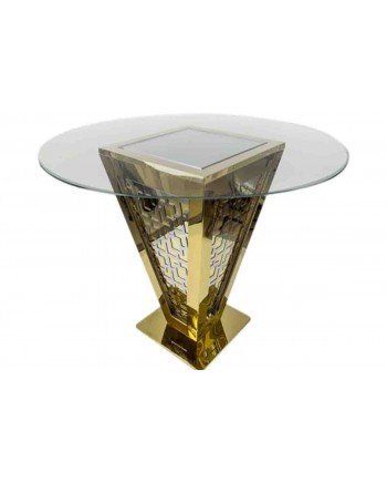 "Reflection Highboy Table Pyramid (Gold) 48"" D"