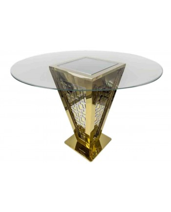 "Reflection Highboy Table Pyramid (Gold) 60"" D"