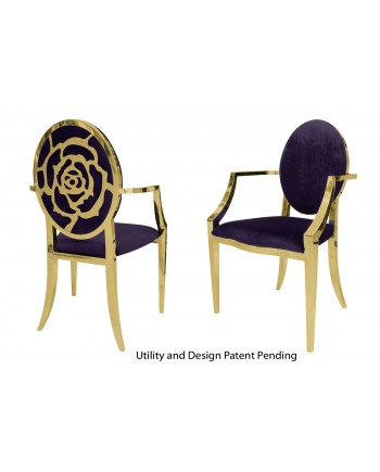 Rose Armchair (Gold-Eggplant)
