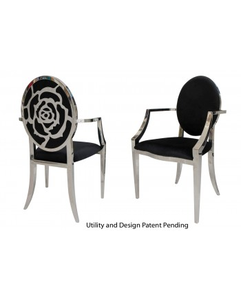 Rose Armchair (Silver-Black)