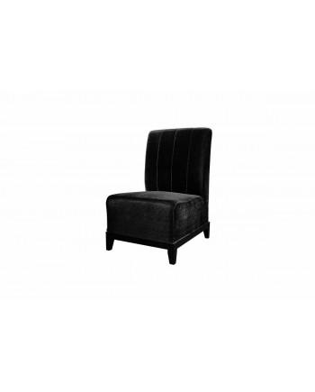 Velvet Chair (Armless with Lines) (Black)